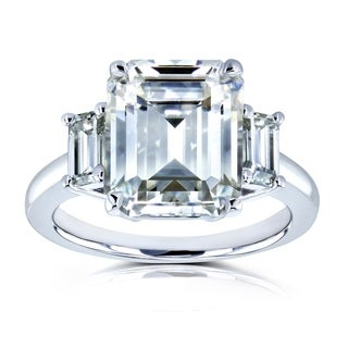 Annello by Kobelli 14k White Gold 5 1/2 Carat TGW Three Stone Emerald Cut Moissanite (HI) Statement Engagement Ring
