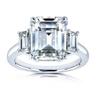 Annello by Kobelli 14k White Gold 5 1/2 Carat TGW Three Stone Emerald Cut Moissanite Statement Engagement Ring
