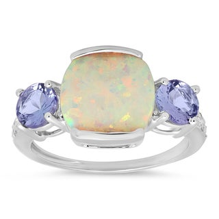 10k White Gold Created Opal, Tanzanite and Diamond Ring