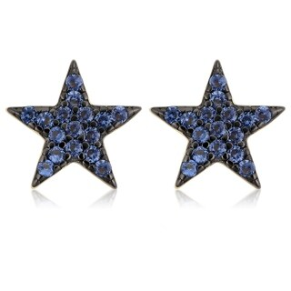 Fremada Yellow Gold Over Sterling Silver Nano Glass Star Stud Earrings