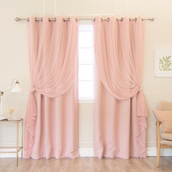 Shop Aurora Home Pastel Mix&Match Tulle Blackout Curtain Panels - N ...