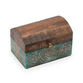 Handmade Antiqued Metal and Wood Chest (India)