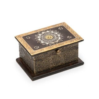 Handcrafted Antiqued Metal Henna Box (India)