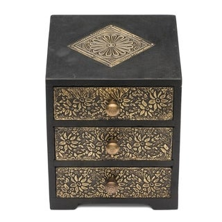Handcrafted Golden Metal and Wood Keepsake Box (India)
