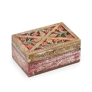 Handcrafted Antiqued Metal and Wood Red Bloom Box - 6 by 4 inch (India)