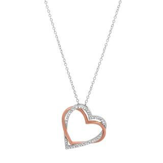 Marabela Sterling Silver Two-Tone Double Heart Pendant - White H-I