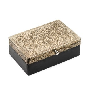 Handcrafted Silver Metal and Wood Treasure Box - Large (India)
