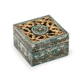 Handcrafted Antiqued Metal and Wood Cut Out Box (India)
