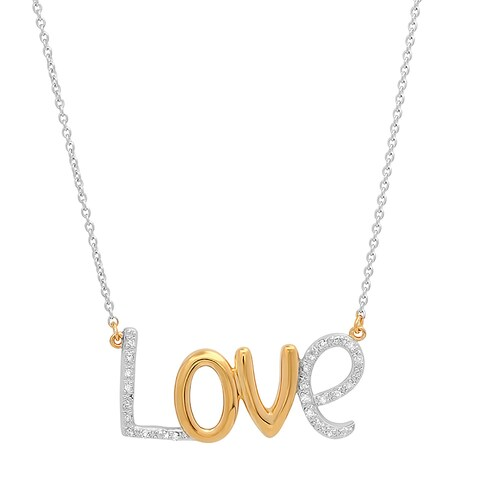 """Marabela Sterling Silver Gold Plated """"LOVE"""" Diamond Accent Necklace - White H-I"""