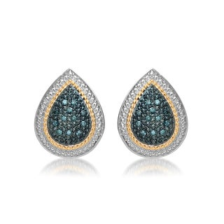Marabela Sterling Silver and 14k Gold Blue Diamond Tear Drop Stud Earrings