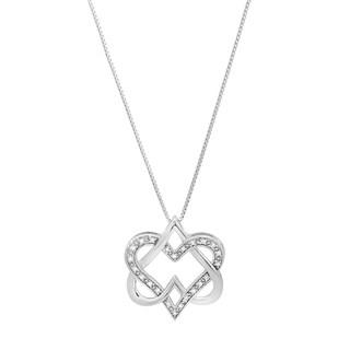 Marabela Sterling Silver Diamond Double Heart Pendant