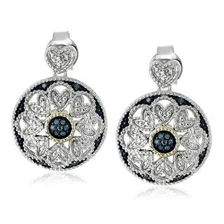 Marabela Sterling Silver and 14k Gold Blue Diamond Earrings