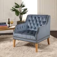 Abbyson Columbia Tufted Velvet Armchair, Smoke Blue