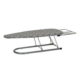 Silver Steel Top Tabletop Ironing Board with Iron Rest