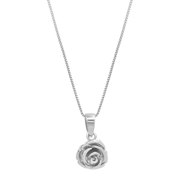 bb14fbe1bdba2 Shop Marabela Sterling Silver Rose Pendant Necklace, 18