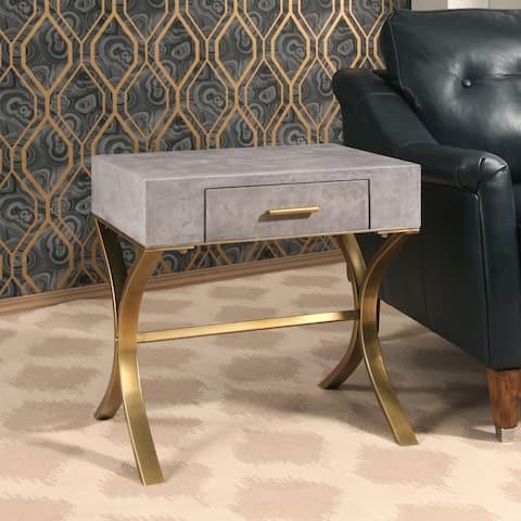 Abbyson Antwerp Shagreen Leather End Table