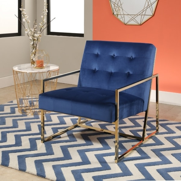 Shop Abbyson Glasgow Navy Blue Metal And Velvet Accent Chair On