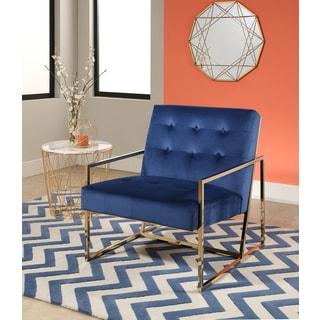 Abbyson Glasgow Navy Blue Stainless Steel and Velvet Armchair