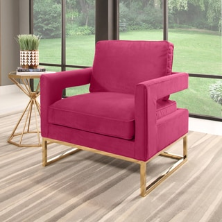 Abbyson Cromwell Velvet Armchair with Stainless Steel Base