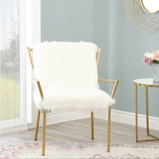 Abbyson Jessica Gold Stainless Steel Faux Fur Armchair