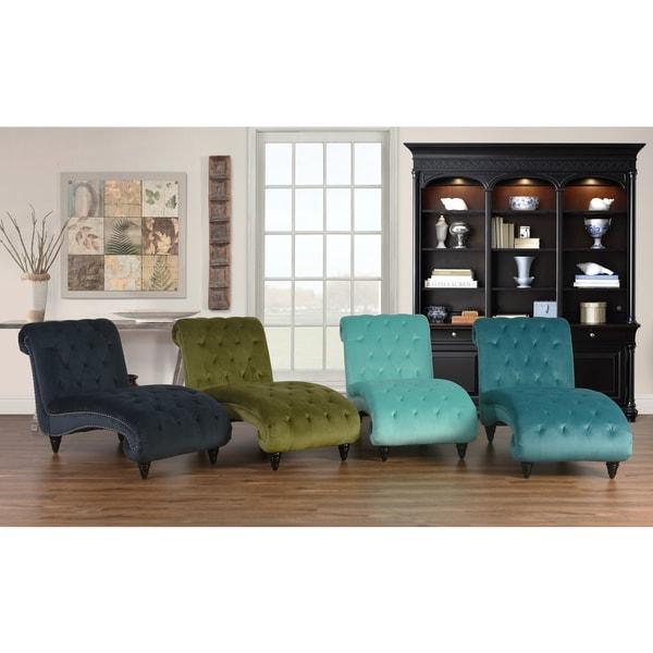 Shop Abbyson Felice Tufted Velvet Chaise On Sale Free Shipping