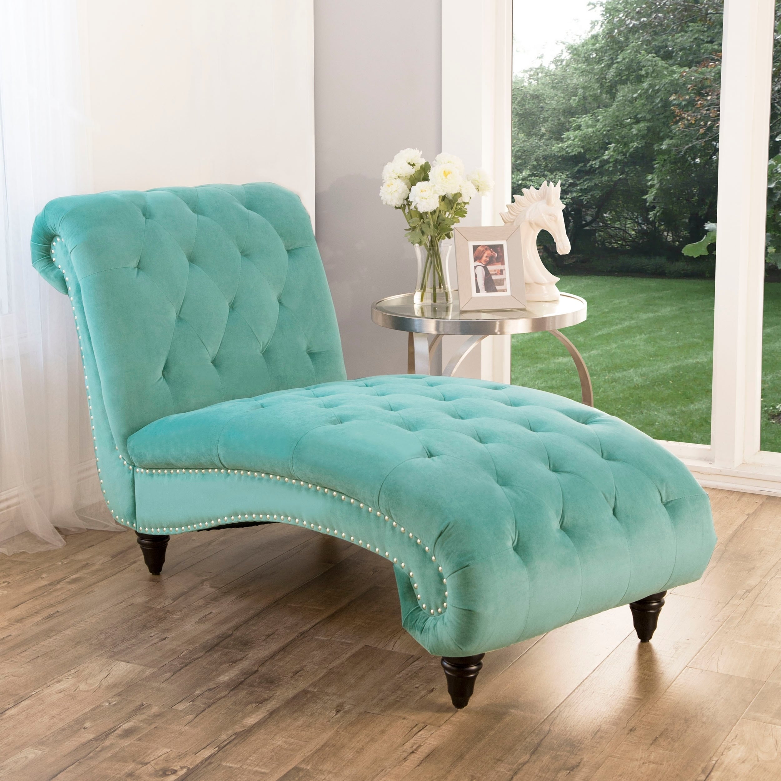 Blue Abbyson Living Tufted Oversized Chaise Lounge Living Room Furniture Furniture
