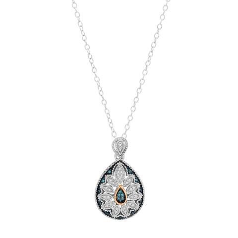Marabela Sterling Silver and 14k Gold Blue Diamond Pendant