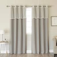 Aurora Home Lace Trim Valance Mix Match Blackout Curtain Panels - N/A