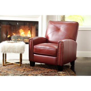 Abbyson Carlsbad Pushback Leather Recliner (Option: Red)