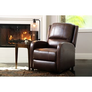 Abbyson Eugene Pushback Leather Recliner, Brown