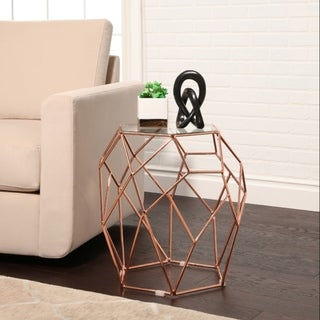 Abbyson Lucy Glass Top End Table