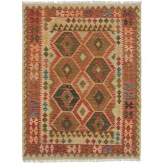 eCarpetGallery Flatweave Anatolian Kilim Brown, Red Wool Kilim (4'11 x 6'5)