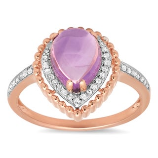 Marabela 10k Rose Gold Tear Drop Amethyst Ring - Purple