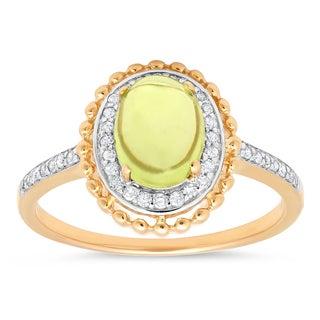 Marabela10k Two Tone Peridot and Diamond Ring
