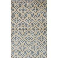 eCarpetGallery Hand-Knotted Jules Ushak Ivory  Art Silk Rug (4'11 x 8'1)