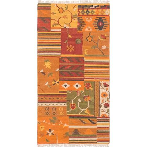 Flat-weave Izmir Orange Wool Kilim