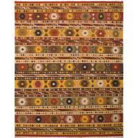 eCarpetGallery Flatweave Kashkoli Kilim Brown, Yellow Wool Kilim Rug - 9'5 x 11'10