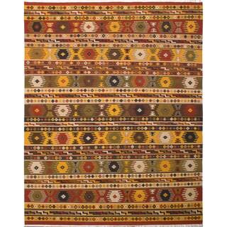 eCarpetGallery Flatweave Kashkoli Kilim Brown, Yellow Wool Kilim (9'5 x 11'10)