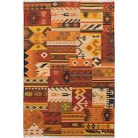 eCarpetGallery Flatweave Izmir Kilim Orange, Red  Wool Kilim (6'8 x 9'8)