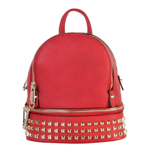 Rimen & Co. PU Leather Golden Studded & Zipper Mini Chic Backpack