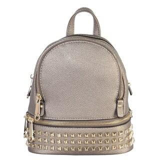 Rimen & Co. PU Leather Golden Studded & Zipper Mini Chic Backpack