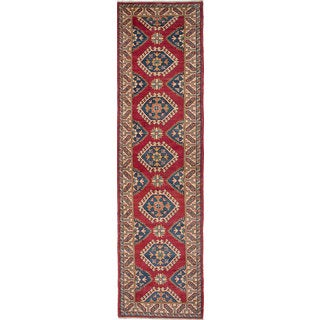 Hand-knotted Finest Gazni Cream, Red Wool Rug - 2'7 x 10'5