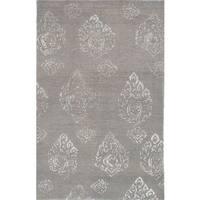 eCarpetGallery Hand-Knotted La Seda Grey 97% Wool, 3% Silk Rug (5'0 x 7'10)