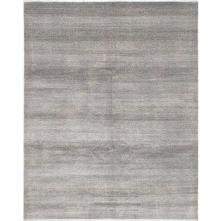 eCarpetGallery Hand-Knotted Silk Shadow Grey  Wool,  Bamboo Silk Rug (8'1 x 10'1)