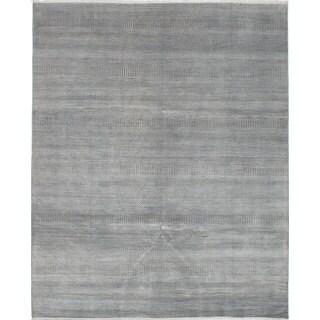 eCarpetGallery Hand-Knotted Silk Shadow Grey  Wool,  Bamboo Silk Rug (8'0 x 9'9)