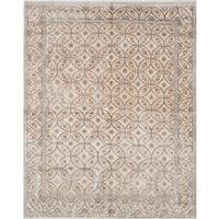 eCarpetGallery Hand-Knotted Jules Ushak Grey, Ivory  Bamboo Silk Rug (7'10 x 9'9)