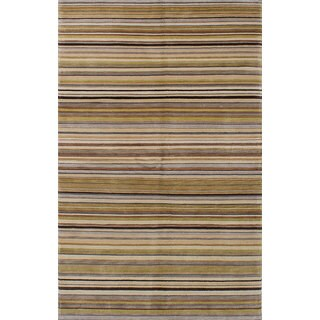 eCarpetGallery Hand-Knotted Karma Green, Ivory Wool Rug (5'1 x 8'0)
