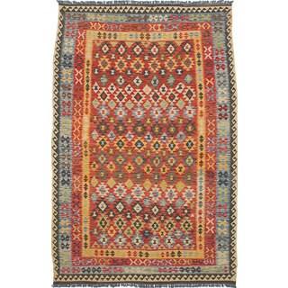 eCarpetGallery Flatweave Hereke Kilim Red Wool Kilim (6'5 x 9'10)