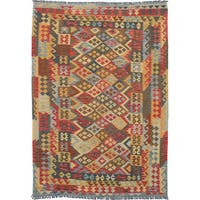 eCarpetGallery Flatweave Sivas Multi, Red, Yellow Wool Kilim Rug - 6'7 x 9'9