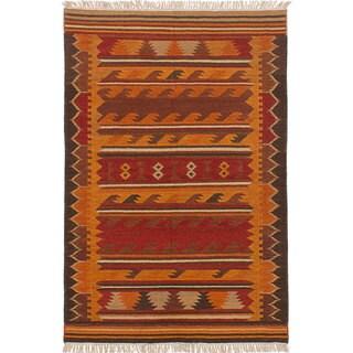 eCarpetGallery Flatweave Ankara Kilim Orange, Red Wool Kilim Rug - 3'11 x 5'11